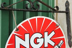 NGK Spark Plugs Enamel Double Sided Sign With Cast Bracket