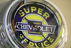 New Chevrolet Super Service  Neon Light Clock
