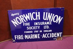 Norwich Union Insurance Agency Enamel Advertising Sign