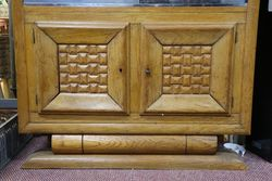 Oak Art Deco Bookcase Slider Glass Door 2 Door Cupboard Base C1935