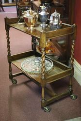Oak Barley Twist Tea Trolley
