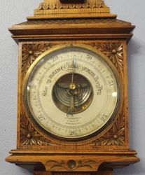 Oak Carved Barometer with Thermometer
