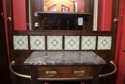 Oak Hall Stand With Tiles and Marble Top