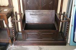 Oak Hall Stand  Hall Seat Combination  English C1900
