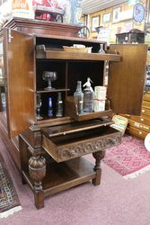 Oak Leather Drinks Cabinet