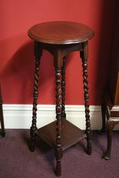 Oak PedestalPlant Stand with 4 Barley Twist Legs and Lower Shelf