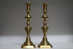 Pair Of Antique Brass Candlesticks