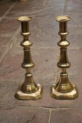 Pair Of Antique Large Brass Candle sticks