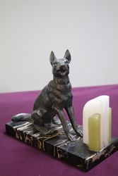Pair Of Art Deco Spelter + Marble German Shepherd Bookends