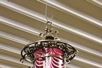 Pair Of Bronze And Ruby Overlay Glass Hanging Lamps