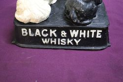 Pair Of Cast Alloy Black and White Whisky Dogs