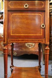 Pair Of Inlaid Bedside Cabinets With Marble Top