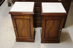 Pair Of Marble Topped Mahogany Pot Cupboards C186070
