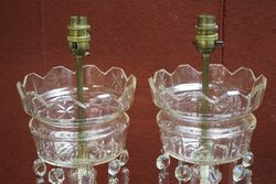 Pair Of Victorian Clear Glass Lustre Vases Converted to Electric Lamps