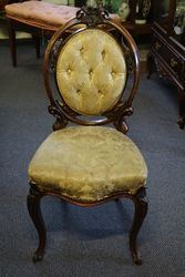Pair Of Victorian Walnut Cameo Back Chairs on Cabriole Legs