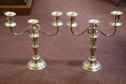Pair of 20th Century Triple Arm Silver Plated Candelabra