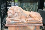 Pair of Large Tiger Eye Marble Sleeping Lions on Stands