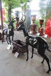 Pair of Quality Bronze Deer Garden Figures