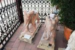 Pair of Tiger Eye Marble Elephant Garden Statues.