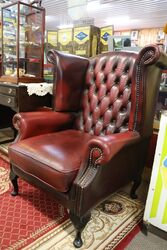 Pair of WingBack Leather Covered Armchairs
