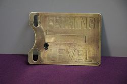 Petrol Pump Priming Level Brass Sign