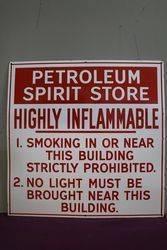 Petroleum Spirit Store Warning Enamel Sign