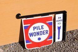 Pile Wonder Enamel Post Mount Sign