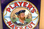 Players Navy Cut Pictorial Double Sided Post Mount Enamel Sign