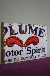 Plume Motor Spirit Double Sided Enamel Advertising Sign