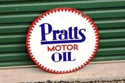 Pratts Motor Oil Double Sided Enamel Advertising Sign