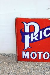 Prices Motor Oil Post Mount Enamel Sign
