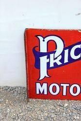 Prices Motor Oil Post Mount Enamel Sign