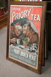 Priory Tea Wooden Framed  Advertising Sign