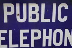 Public Telephone Double Sided Enamel Sign