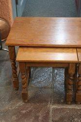 Quality Nest of 3 Oak Barley Twist Tables