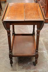 Quality Oak Drop Side Tea Trolley C1925