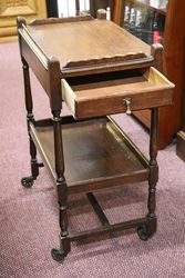 Quality Oak Trolley with Drawer + Drop Side