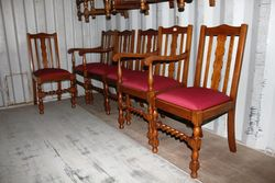 Quality Set Of 6 English Oak Dining Chairs