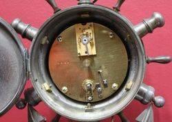 Rare Desk Clock in Form of a Ships Wheel