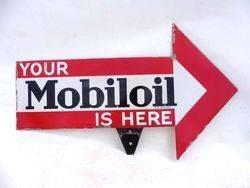 Rare Mobiloil Double Sided Arrow Enamel Sign