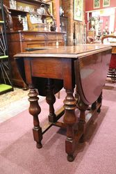 Restered Solid Oak Gate Leg Table With Unusual Centre Drawer