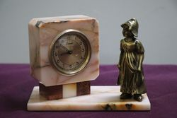 Rouge Marble 30 Hour Scout Clock With Brass Dutch Girl Figure
