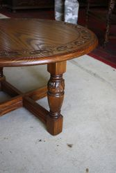 Round Carved Oak Coffee Table