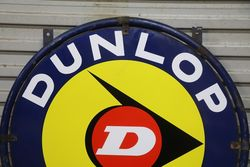 Round Dunlop D Double Sided Enamel Sign