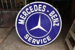 Round Mercedes Benz Service Enamel Advertising Sign