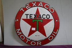 Round Texaco Motor Oil Enamel Advertising Sign