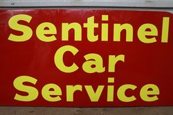 Sentinel Car Service Double Sided Tin Advertising Sign