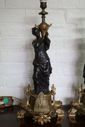 Set Of 2 Bronze Figure Lamps
