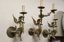 Set Of 3 Brass Wall Lights