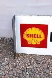 Shell Butagaz Post Mount Enamel Advertising Sign